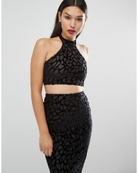 Boohoo Velour High Neck Crop Top