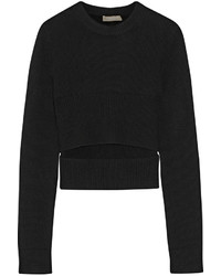 Black Cutout Crew-neck Sweater