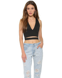 Black Cutout Cropped Top