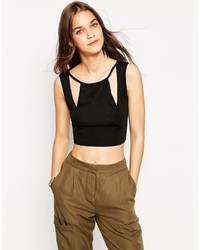 Daisy Street Crop Top With Cut Out Neckline
