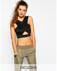 Daisy Street Halter Crop Top With Cut Out And Low Back