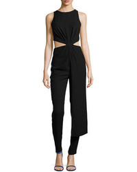 Halston Heritage Sleeveless Twisted Cutout Jumpsuit