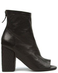 Black Cutout Leather Ankle Boots