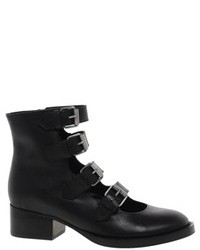 Asos Axel Leather Ankle Boots Black