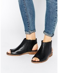 Asos Collection Aaliya Leather Peep Toe Ankle Boots