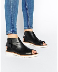 Asos Collection Adam And Eve Leather Peep Toe Ankle Boots