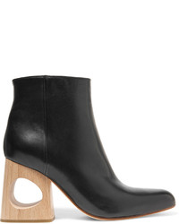 Marni Cutout Leather Ankle Boots Black