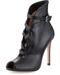 Gianvito Rossi Peep Toe Leather Lace Up Bootie Black