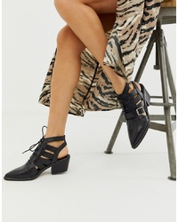 ASOS DESIGN Rookie Leather Cut Out Boots