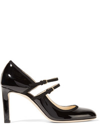 Micha cutout suede trimmed patent leather pumps black medium 1055075