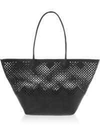 Black Cutout Leather Tote Bag