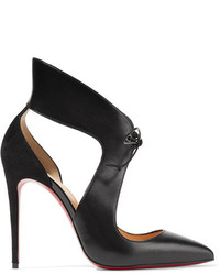 Ferme rouge 100 cutout leather and suede pumps black medium 1139845