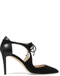 Jimmy Choo Vanessa Cutout Suede And Leather Pumps Black