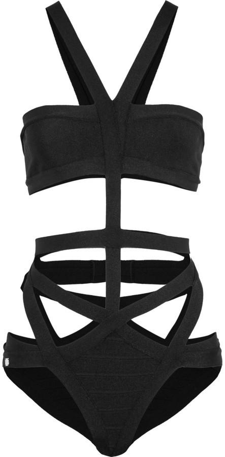 Herve Leger Herv Lger Cutout Stretch Bandage Swimsuit Black