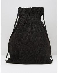 Weekday Pleat Detail Drawstring Backpack In Black