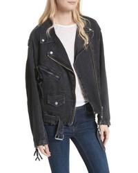 Black Denim Biker Jacket