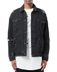 Topman Aaa Collection Ripped Denim Jacket