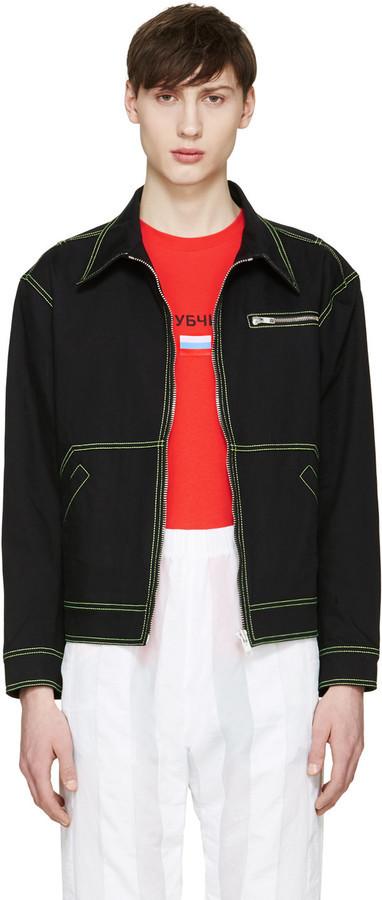 Gosha Rubchinskiy Black Contrast Denim Jacket | Where to buy & how ...