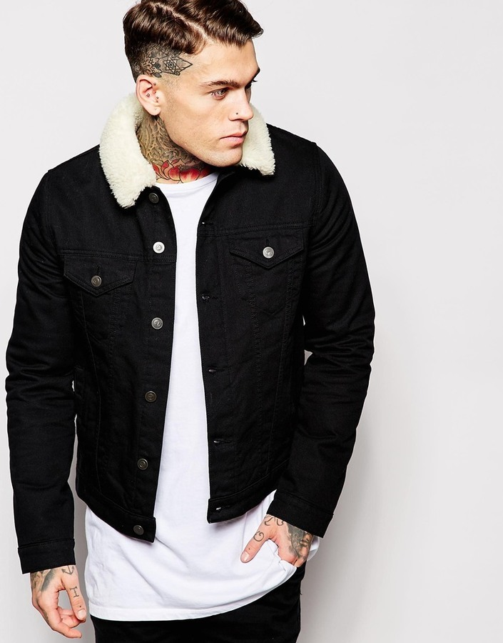 Asos Brand Denim Jacket With Fleece Collar In Black | Where to buy ...