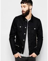Asos Brand Denim Jacket With Zip Detail