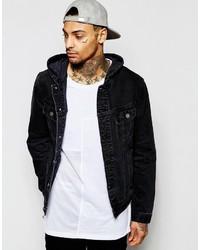 Asos Brand Hooded Denim Jacket In Black