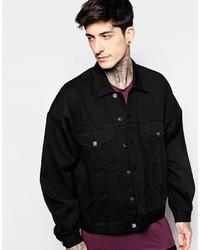 Asos Brand Oversized Denim Jacket In Black Wash