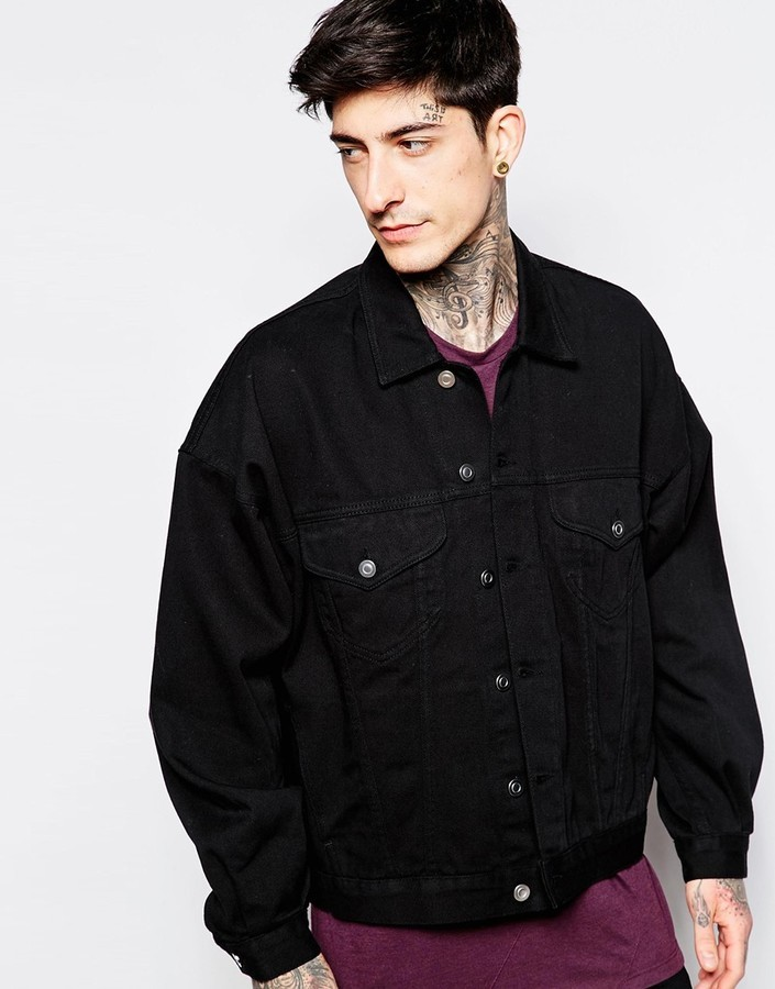 0896ce8eb213 Asos Brand Oversized Denim Jacket In Black Wash, £68 | Asos ...