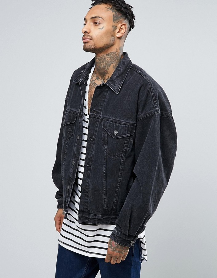 6bcf83fb540d7 Asos Denim Jacket In Oversized Fit With Black Wash, £52 | Asos ...