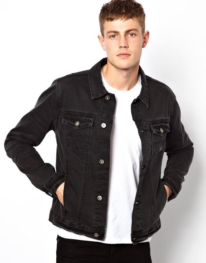 a2e30000ce6f ... Black Denim Jackets Asos Denim Jacket With Distressed Effect ...