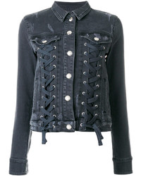Versus Lace Up Denim Jacket