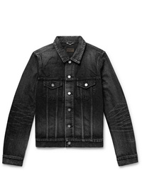 Saint Laurent Slim Fit Distressed Denim Jacket
