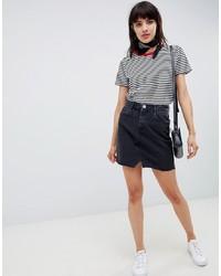 ASOS DESIGN Denim Pelmet Skirt In Washed Black