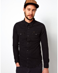 Lee Denim Shirt Western Slim Fit Pitch Black