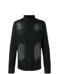 Philipp Plein Embellished Skull Denim Shirt