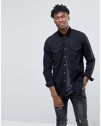 Asos Overshirt Denim Western In Black