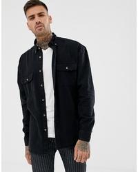 ASOS DESIGN Oversized Denim Shirt In Black With Double Pockets In Black