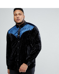 ASOS DESIGN Plus Regular Fit Crushed Velvet Western Shirt