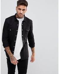 ASOS DESIGN Skinny Denim Western Shirt In Black