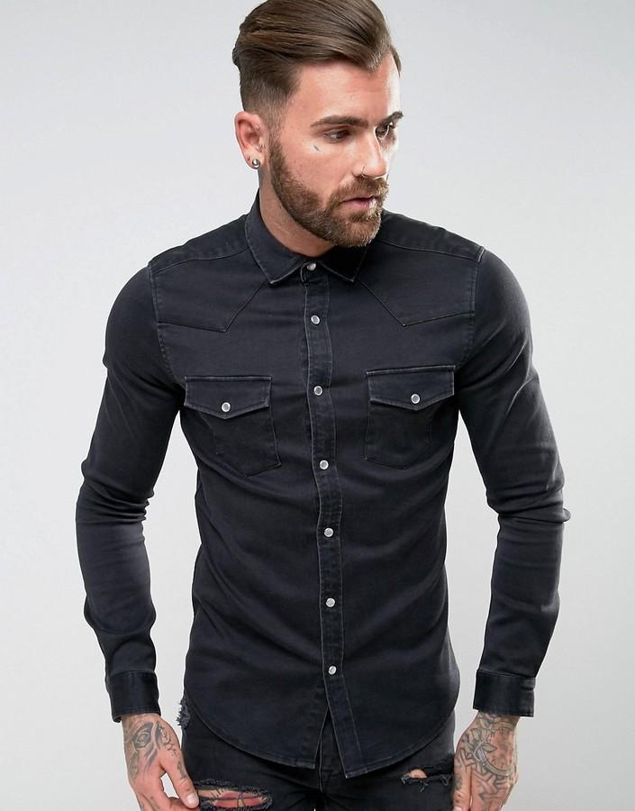 a8ac6c7d15 ... Asos Skinny Western Denim Shirt In Black ...