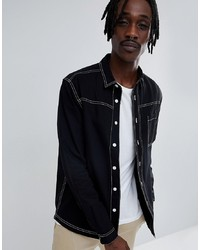 ASOS DESIGN Washed Overshirt With Contrast Stitching In Black