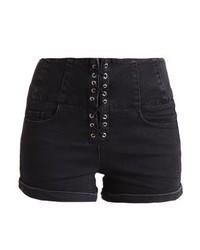 New Look Corset Lace Front Denim Shorts Black