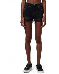 Topshop Ripped High Rise Denim Shorts