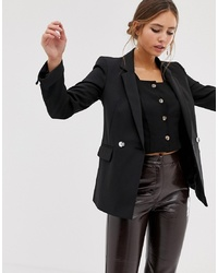 Miss Selfridge Double Breasted Blazer With Notch Sleeves In Black