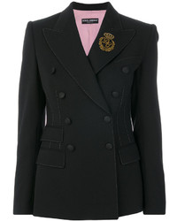 Dolce & Gabbana Double Breasted Crown Patch Blazer