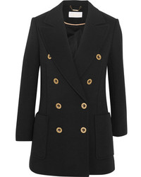 Chloé Double Breasted Wool Piqu Blazer Black
