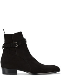 Saint Laurent Black Suede Wyatt 30 Jodhpur Boots