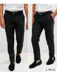 ASOS DESIGN 2 Pack Skinny Smart Trousers In Black Save