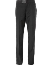 Alexander McQueen Black Regular Fit Wool And Mohair Tuxedo Trousers
