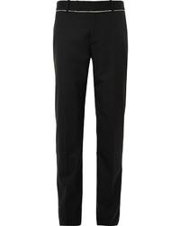 Alexander McQueen Black Slim Fit Fray Trimmed Wool Suit Trousers