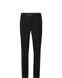Fendi Black Slim Fit Logo Trimmed Woven Trousers